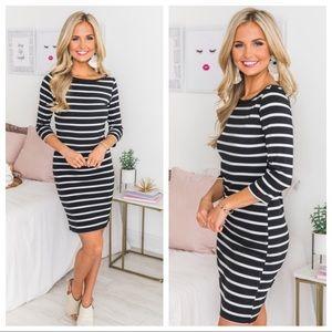 NWT Pink Lily Black Striped 3/4 Dress